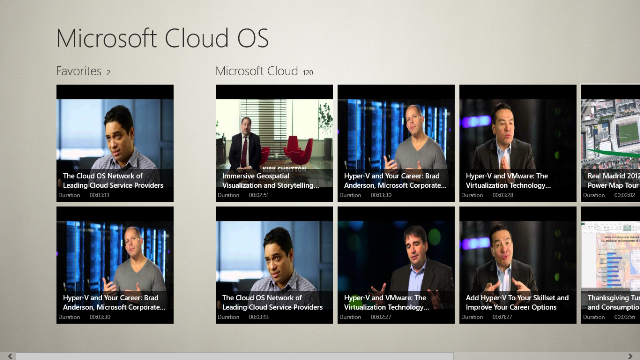 Main Page displays a list of your favorite videos and part of Microsoft Cloud OS Channel.