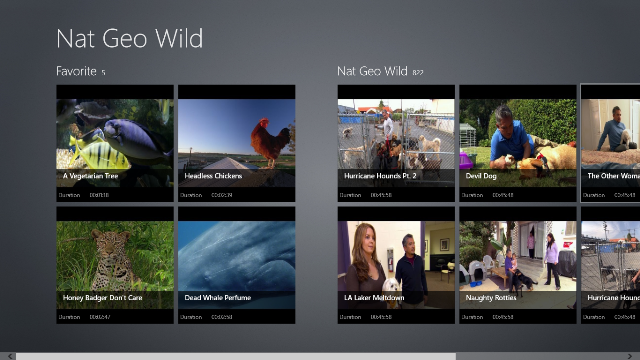Main Page displays a list of your favorite videos and part of Nat Geo Wild TV Channel.