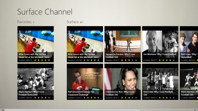 Main Page displays a list of your favorite videos and part of Surface Channel.