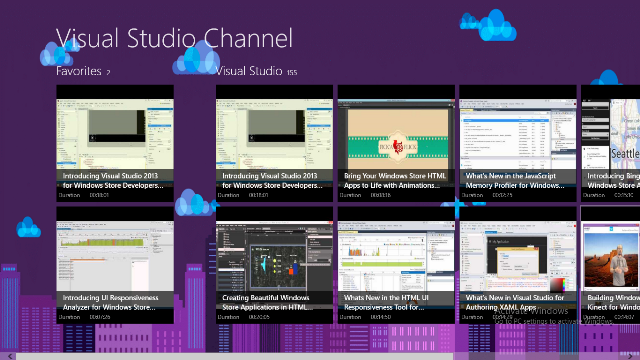Main Page displays a list of your favorite videos and part of Visual Studio Channel.