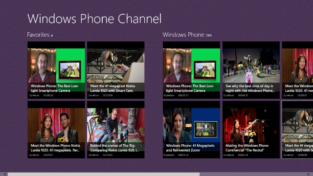 Main Page displays a list of your favorite videos and part of Windows Phone Channel.